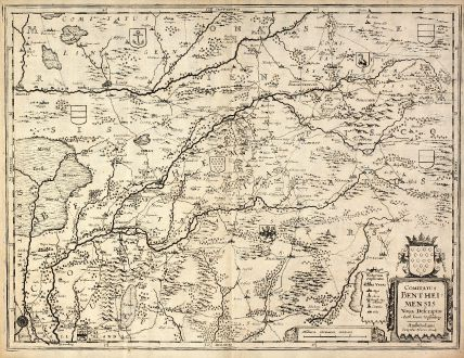 Antique Maps, Hondius, Germany, Lower-Saxony, Bad Bentheim, 1630: Comitatus Bentheimensis Noua Descriptio Auth. Ioann. Westenberg - Amstelodami Sumptibus Henrici Hondij