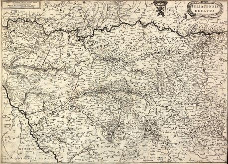 Antike Landkarten, Janssonius, Deutschland, Nordrhein-Westfalen, Jülich, 1650: Iuliacensis ducatus