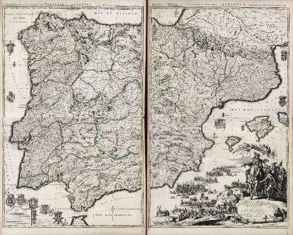Antike Landkarten, Mortier, Spanien - Portugal, 1700: Theatre de la Guerre en Espagne et en Portugal