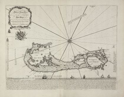 Antique Maps, Lempriere, Central America - Caribbean, Bermuda, 1738: To his Excellency Alured Popple Esq. Governour of Bermuda, or the Summer Islands. This Map ...