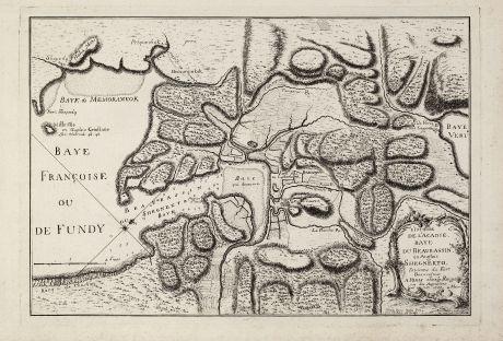 Antike Landkarten, le Rouge, Nordamerika, Kanada, Akadien, Neuschottland, 1755: L'Isthme de l'Acadie Baye du Beaubassin en Anglois Shegnekto. Environs du Fort Beausejour.