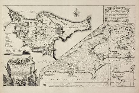 Antike Landkarten, Jefferys, Nordamerika, Kanada, Neuschottland, Louisbourg: A Plan of the City, and Fortifications, of Louisburg, from a Survey made by Richard Gridley / A Plan of the City and Harbour...