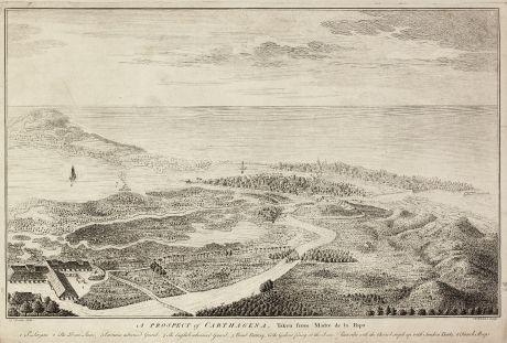 Antike Landkarten, Toms, Mittelamerika - Karibik, Kolumbien, Cartagena de Indias: A Prospect of Carthagena, Taken from Madre de la Popa.
