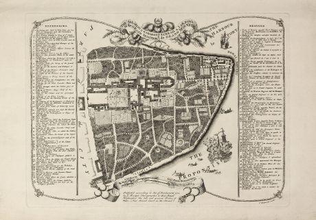 Antique Maps, Rocque, Turkey, Istanbul, Topkapi Palace, 1752: The Seraglio & Gardens of the Grand Seignior. / Serrail & Jardins du Grand Seigneur.