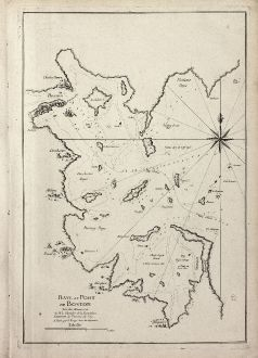 Antique Maps, le Rouge, North America, Boston, 1756: Baye et Port de Boston. Tire des Manuscrits de M. le Chevalier de la Rigaudiere Lieutenant de Vaissau du Roy . A Paris par...