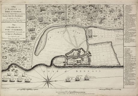 Antique Maps, Rocque, India, Madras, 1751: A Plan of Madras and Fort St. George, Taken by the French, Commanded by Monsieur Martre de la Bourdonnais. / Plan de Madras...