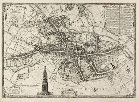 Antique Maps, Jefferys, British Isles, Coventry, 1750: A Plan of the City of Coventry Surveyed in MDCCXLVIII & IX by Samuel Bradford and Engraved by Thos. Jefferys ...