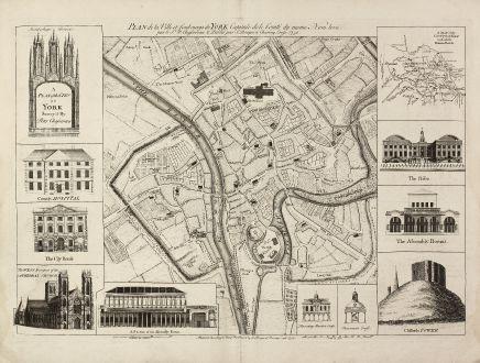 Antike Landkarten, Rocque, Britische Inseln, 10980, 1750: A Plan of the City of York Survey'd By Peter Chassereau / Plan de la Ville et foubourgs de York. Capitale de le Comté du...