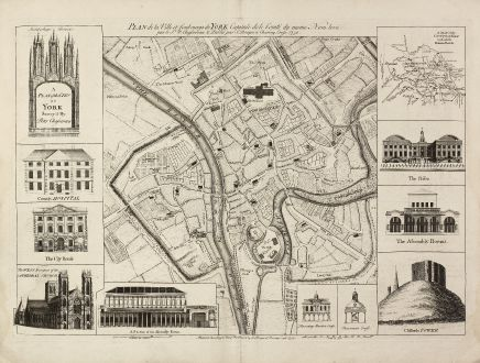 Antique Maps, Rocque, British Islands, York, 1750: A Plan of the City of York Survey'd By Peter Chassereau / Plan de la Ville et foubourgs de York. Capitale de le Comté du...