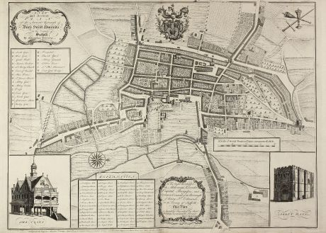 Antike Landkarten, Downing, Britische Inseln, Suffolk, Bury St. Edmunds, 1741: A New and Accurate Plan of the Ancient Borough of Bury Saint Edmunds in the Country of Suffolk By Alexander Downing. 1740.