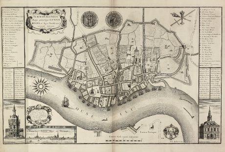 Antike Landkarten, Rastrick, Britische Inseln, Norfolk, King s Lynn, 1725: Ichnographia Burgi perantiqui Lennae regis in Agro Norfolciensi accurate delineata Ano MDCCXXV.