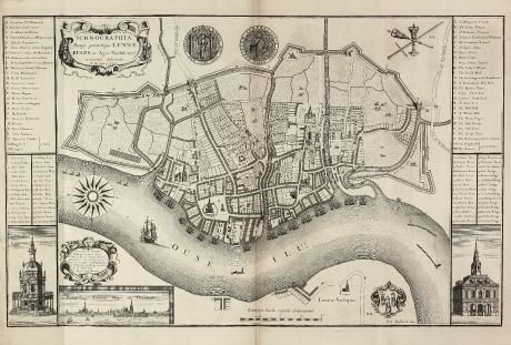 Antique Maps, Rastrick, British Isles, Norfolk, King s Lynn, 1725: Ichnographia Burgi perantiqui Lennae regis in Agro Norfolciensi accurate delineata Ano MDCCXXV.