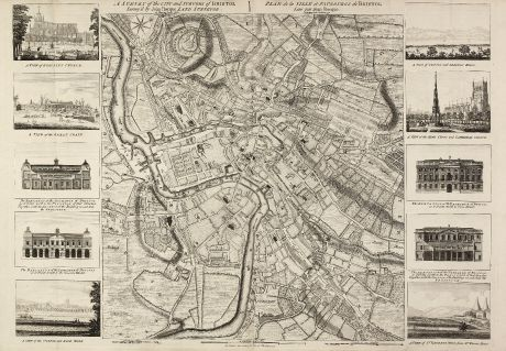 Antique Maps, Rocque, British Islands, Bristol, 1750: A Survey of the City and Suburbs of Bristol Survey'd by John Rocque Land Surveyor at Charing Cross, 1750 / Plan de la Ville...