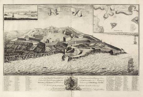 Antike Landkarten, Mosley, Britische Inseln, Plymouth, 1750: The Citadel of Plymouth