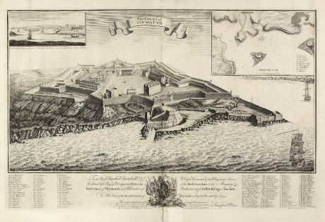 Antique Maps, Mosley, British Isles, Plymouth, 1750: The Citadel of Plymouth