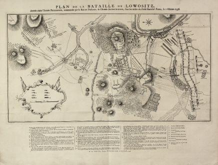 Antike Landkarten, de Hondt, Tschechien - Böhmen, Lobositz, Lovosice, 1758: Plan de la Bataille de Lowositz, donné entre l'Armée Prussienne ...