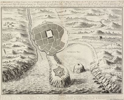 Antique Maps, Toms, Spain - Portugal, San Sebastian, 1740: St. Sebastian. A strong fortified town of Guiapuscoa laying at the bottom of the Bay of Biscay ...