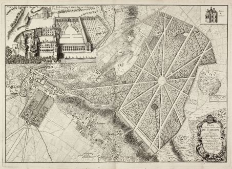 Antike Landkarten, le Rouge, Frankreich, Gaillon, Gartenplan, 1748: Plan du Chateau, Jardins et Parc de Gaillon ...