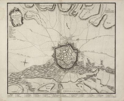 Antique Maps, le Rouge, Germany, Lower Saxony, Goettingen, 1757: Plan de Goetingue de Hanover avec toutes ses Environs a Paris chez le Rouge Rue des Augustins. 1757. A.P.D.R