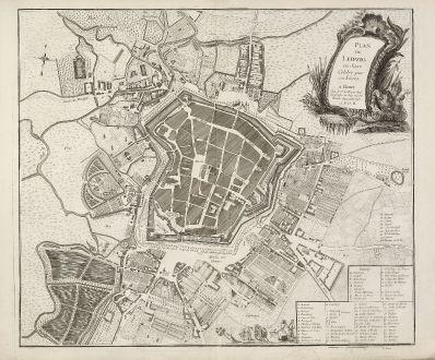 Antike Landkarten, le Rouge, Deutschland, Sachsen, Leipzig, 1757: Plan de Leipzig en Saxe Celébre par ses foires.