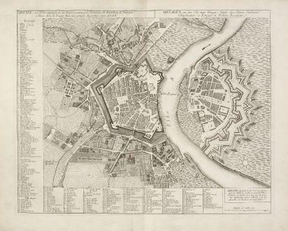 Antike Landkarten, le Rouge, Deutschland, Sachsen, Dresden, 1757: Dresde sur l'Elbe Capitale de la Saxe ... / Dresden an der Elb eine Haupt-Stadt des Obern Sachsen ...