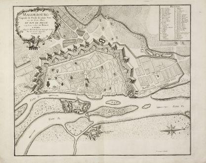 Antique Maps, le Rouge, Germany, Saxony-Anhalt, Magdeburg, 1757: Magdebourg Capitale du Duché de même Nom une des Fortes Places du Roy de Prusse à 24 Lieues en deca de Berlin