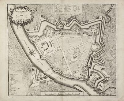 Antique Maps, le Rouge, Germany, Lower Saxony, Nienburg, 1757: Nienbourg une des Forteresses de l'Electorat de Hanover Capitale du Comté de Hoya.