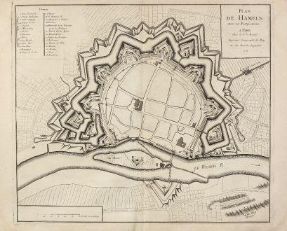 Antike Landkarten, le Rouge, Deutschland, Niedersachsen, Hameln, 1757: Plan de Hameln avec ses Fortifications.