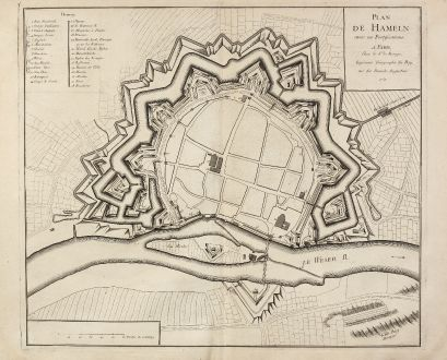 Antique Maps, le Rouge, Germany, Lower Saxony, Hameln, 1757: Plan de Hameln avec ses Fortifications.