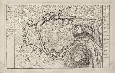 Antike Landkarten, le Rouge, Frankreich, Burgund, Besancon, 1752: Plan de Besancon. Capitalle du Compté de Bourgogne