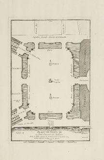 Antike Landkarten, le Rouge, Frankreich, Paris, Place de la Concorde, 1754: Place de Louis XV. au Pont Tournant des Tuilleries dont la Ville a possée la premiere Pierre le 22 Avril 1754.
