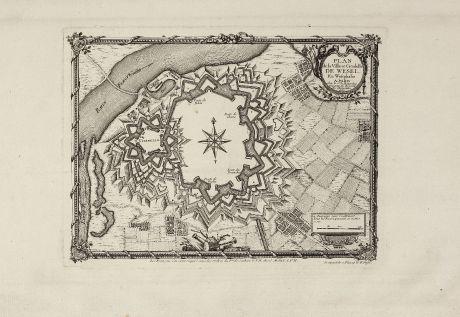 Antique Maps, le Rouge, Germany, North Rhine-Westphalia, Wesel, 1757: Plan de la Ville et Citadelle de Wesel. En Westphalie.