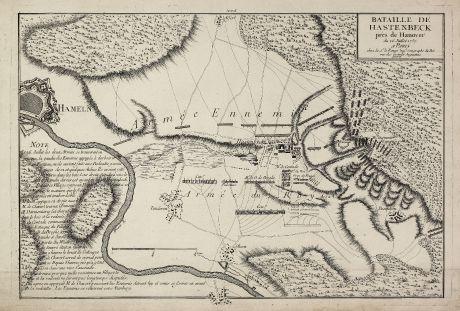 Antike Landkarten, le Rouge, Deutschland, Niedersachsen, Hameln, 1757: Bataille de Hastenbeck près Hanover du 26. Juillet 1757.