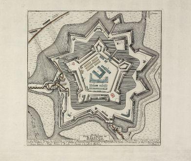 Antike Landkarten, Anonymous, Deutschland, Hamburg, Harburg, 1757: Plan du Chateau de Harburg. Rheinländische Ruthen.