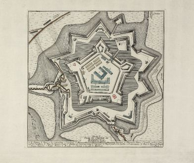 Antique Maps, Anonymous, Germany, Hamburg, Harburg, 1757: Plan du Chateau de Harburg. Rheinländische Ruthen.