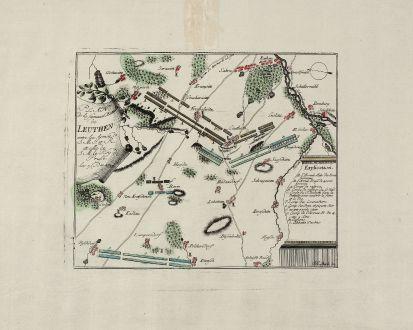 Antique Maps, Anonymous, Poland, Silesia, Leuthen, 1757: Plan de la fameuse Bataille de Leuthen entre les Armée de J. M. J. et R. et celle de J. M. le Roy de Prusse. les 5. Dec....