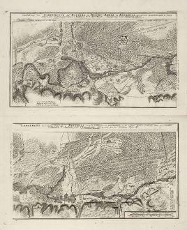 Antique Maps, Homann Erben, Germany, Baden-Wurttemberg, Bruchsal, 1750: Vorstellung des Campements der Kayserl. u. Reichs-Armee zu Bruchsal, mit denen Inondationen u. neuen Linien 1735 in denen...