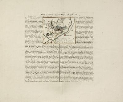 Antike Landkarten, Covens and Mortier, Deutschland, Sachsen, Rossbach, 1760: Plan de la Bataille de Rosbach en Saxe, le 5 Novembre 1757. à Amsterdam chez Covens & Mortier