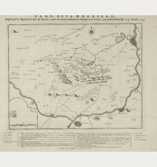 Plan de la Bataille, Gagnée pas Sa Majesté le Roi de Prusse, contre les Armées combinée de l'Empire & de France, près...