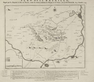 Antike Landkarten, de Hondt, Deutschland, Sachsen, Rossbach, 1758: Plan de la Bataille, Gagnée pas Sa Majesté le Roi de Prusse, contre les Armées combinée de l'Empire & de France, près...