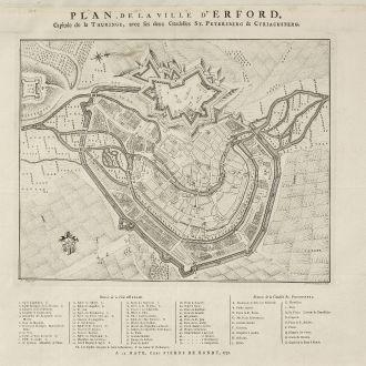 Antike Landkarten, de Hondt, Deutschland, Thüringen, Erfurt, 1758: Plan de la Ville d'Erford, Capitale de la Thuringe, avec ses deux Cittadelles St. Petersberg & Cyriacusberg.