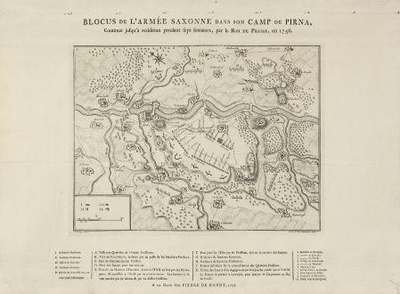Antike Landkarten, de Hondt, Deutschland, Sachsen, Pirna, 1758: Blocus de l'Armée Saxonne dans son Camp de Pirna, Continué jusqu'à reddition pendant sept fermain, par le Roi de Prusse,...