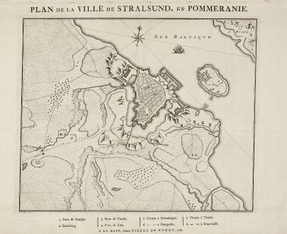 Antique Maps, de Hondt, Germany, Mecklenburg-Vorpommern, Stralsund, 1748: Plan de la Ville Stralsund, en Pommeranie.