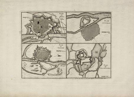 Antique Maps, le Rouge, Poland, Silesia, Brieg, Glogau, Oppeln, Trachenberg: Plan de Brieg en Silesie / Plan de Glogaw / Plan D'Oppelen / Plan de Trachenberg
