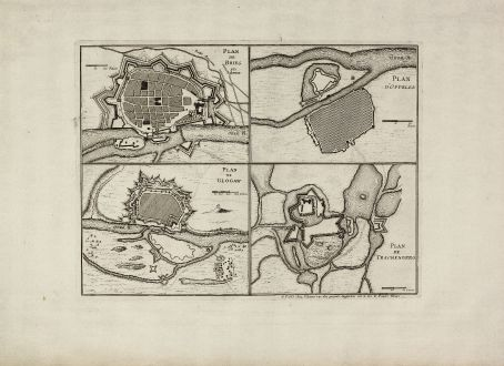 Antike Landkarten, le Rouge, Polen, Schlesien, Brieg, Glogau, Oppeln, Trachenberg: Plan de Brieg en Silesie / Plan de Glogaw / Plan D'Oppelen / Plan de Trachenberg