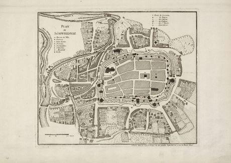 Antique Maps, le Rouge, Poland, Silesia, Schweidnitz, Swidnica, 1750: Plan de Schweidniz