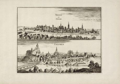 Antique Maps, le Rouge, Poland, Silesia, Neisse, Nysa, Teschen, Cieszyn: Neiss en Silesia / Teschen