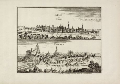 Antike Landkarten, le Rouge, Polen, Schlesien, Neisse, Teschen, 1750: Neiss en Silesia / Teschen