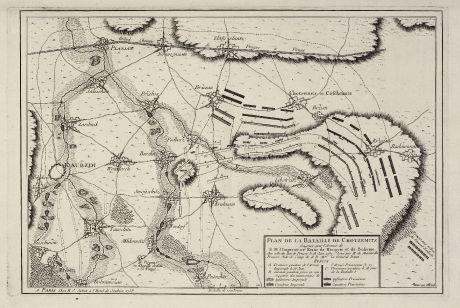 Antike Landkarten, Julien, Tschechien - Böhmen, Kotzenitz, Chocenice, 1760: Plan de la Bataille de Chotzemitz ...