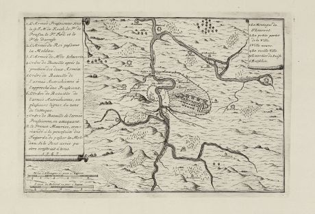 Antique Maps, le Rouge, Czechia - Bohemia, Prague, Praha, 1757: untitled